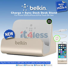 Belkin Charge + Sync Dock Desktop Stand for iPhone 6 5S 5C  5 Data Transfer Gold