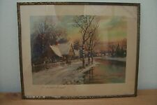 "(AD 13) 1939 METAL FRAMED PRINT ""A WINTER SUNSET"" UNDER GLASS COTTAGE CHURCH"