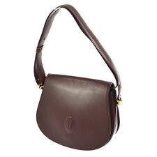 Authentic Must De Cartier Cross Body Shoulder Bag Bordeaux Leather VTG V05942
