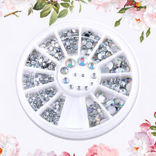 New Nail Art Glitter Rhinestones 12 Grids Fingernail Tips Decor Wheel Plate