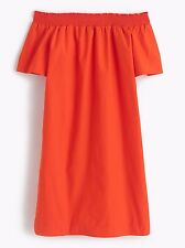 J CREW OFF-THE-SHOULDER DRESS IN COTTON POPLIN 16T  $118 bold red #f2302 NWT