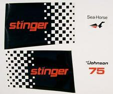 1979 Johnson Outboard Stinger Hood Decals 3 CYL 75 hp