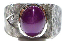 MENS WOMENS HEAVY 14K WHITE GOLD LARGE PINK STAR SAPPHIRE & DIAMOND RING BAND