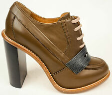 Chloe Tan Leather Lace Up Oxford Ankle Bootie Heels Shoes EU39.5 US9 $1195