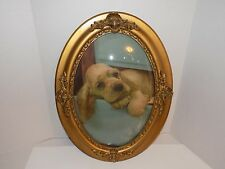 Antique Textured Gilt Oval Frame-Convex/Bubble Glass-Picture of Dog