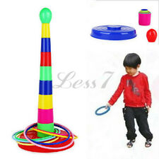 Kids Children Outdoor Colorful Plastic Ring Toss Quoits Garden Game Toy Play Set