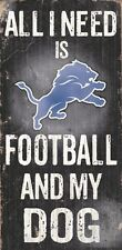 Detroit Lions Football and Dog Wood Sign [NEW] NCAA Man Cave Den Wall