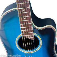 Coban Electro 4EQ Blue D4 Gloss Acoustic Guitar Luxury 20mm Gig Bag Package A