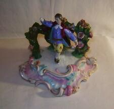 Antique German Porcelain Figure on Rococo Scroll Base C19th  a/f Beehive Mark