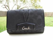 Coach Ashley Black Signature Jacquard & Leather  ID Holder Compact Wallet