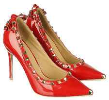 Red Leather Gothic Pointy toe Pump Pyramid Studs Bow Heel Women's shoes sz.6