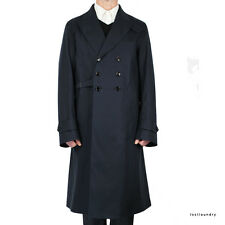 Alexander McQueen Navy Blue Double Breasted Buckle Side Trench Coat Mac IT52