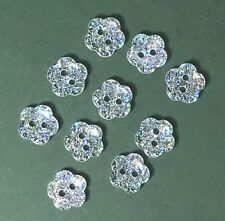 Pack of 10 Glitter Flower Buttons - 10mm - Clear with Silver Glitter - Bridal
