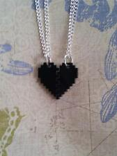 *Pixelated Heart* 2 Friendship Gaming Computer Acrylic Laser Cut Black Necklaces