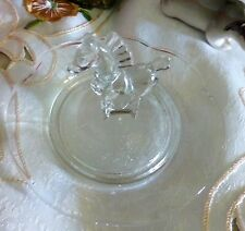 GLASS RING TRAY WITH HORSE FIGURE TO THE CENTRE