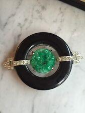 Vintage KJL KENNETH JAY LANE Chinoiserie Faux Jade Black Onyx Pin Brooch DECO ST