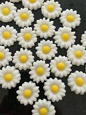 24 Edible Sugar Fondant White Daisies Flowers Birthday Wedding Cupcake Toppers