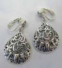 Silver Plated Designer Look Classic Dangle Clip On Drop Earrings # 3190 NEW