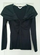"CAbi Solid Black ""Cinema Top"" Style #143 Taffeta Opera Collar Twist Bodice SZ M"