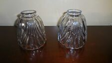 2 USED CLEAR PRESSED GLASS LAMP SHADES