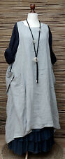 LAGENLOOK LINEN OVERSIZE LAYERING 2 POCKETS LONG TUNIC-DRESS*PALE GREY*L-XL-XXL