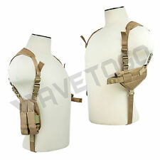 VISM NcSTAR Tactical Horizontal Shoulder Holster Double Pistol Mag Pouch Tan