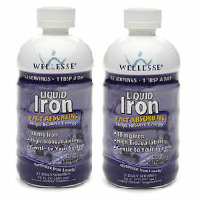 2 PACK Wellesse Iron Supplement Liquid 16 oz (4761367/371401923169)
