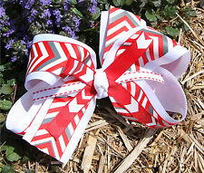 Chevron Red and White Striped Hair Bow for Girls, Double Layered Chevron Ribbons