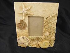 Sea shell picture frame beachy style starfish clam conch shells sand fishing net