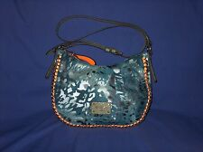 Guess Navy Blue Denim Camouflage Orange Trim Crossbody Shoulder Bag Dust Jacket
