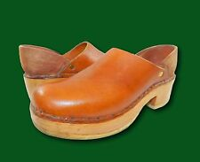 Vintage 70's Handmade Brown Leather Wooden Clogs Shoes