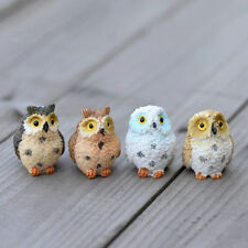 4XGarden Ornament Miniature Owl Resin Figurine Craft Pots Garden Decorative HU