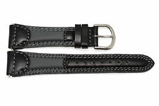 19MM BLACK GRAY PADDED STITCHED GENUINE LEATHER WATCH BAND STRAP FITS CASIO