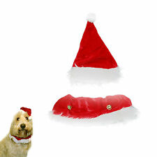 Dog / Cat Novelty Felt Christmas Xmas Collar & Hat- Animal Clothing Set For Pets