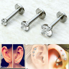 3pc 2/3/4mm CZ Gem 16G Tragus Lip Monroe Ear Triple Cartilage Helix Stud Earring