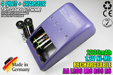 CHARGEUR VIVANCO CHARGER + 4 PILES ACCUS RECHARGEABLE NI-MH 1.2V AA 2300MAH LR06