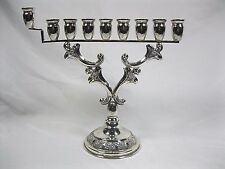 Vintage 925 Sterling Silver Menorah Hanukkah Menora Jewish Candle Stick Holder