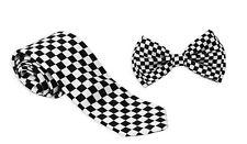 Black&White Checker Adjustable Bow Tie & Black&White Checker necktie Combo-New!