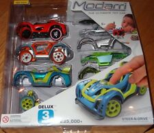 Modarri Delux 3 Pack Steer-N-Drive Finger Powered Design and Build Toy Car