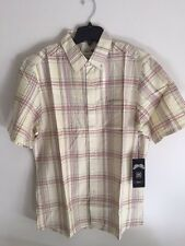 NWT MEN'S RVCA SIZE LARGE STRIPED BUTTON DOWN SHIRT YELLOW CHECKED SHORT SLEEVE