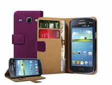 Wallet VIOLET Leather Case Cover Pouch for Samsung Galaxy Core Duos GT-i8262
