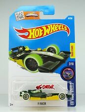 Hot Wheels 2016 #47 F1 Racer DEEP GREEN,2ND COLOR,GLOW TIRES,BLACK WSP,INTL