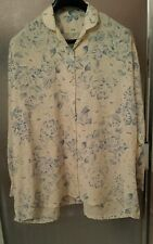 Women's long sleeved buttoned blouse with collar - cream with big blue roses