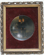 """""""PRINCES IN THE TOWER"""": PAINTING ON CONCAVE GLASS PLAQUE AFTER JOHN EVERETT MILL"""