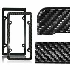 Black Carbon Fiber Custom License Plate Frames Tag Cover Screw Caps for Auto Car