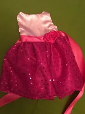 "Fits 15"" 16"" Baby Alive Doll Clothes Party Dress Silk Pink Rose Applique NEW"