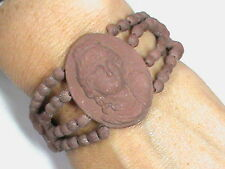 Unusual Antique Georgian Victorian Lava like Ceramic Terracotta Cameo Bracelet
