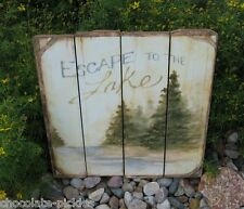 LAKE Pine Trees Wood PICTURE*Primitive/French Country Cabin/Hunting Decor