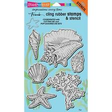 SEASHELLS Set Unmounted Cling Rubber Stamps Set by Stampendous CRS5090 NEW