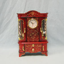 Red Musical Jewelry Box Clock and two ballerinas